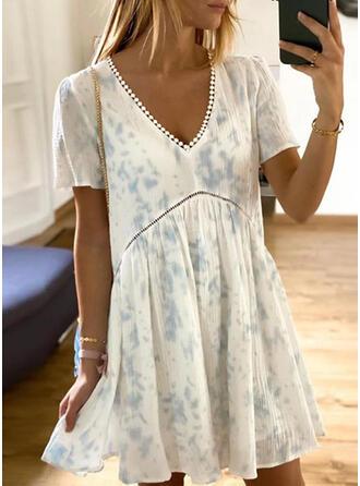 Encaje/Tie Dye Manga Corta Tendencia Sobre la Rodilla Casual Vestidos