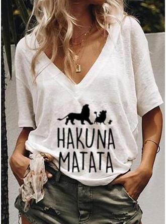 Animaliska Tryck V-ringning 1/2 ärmar T-tröjor