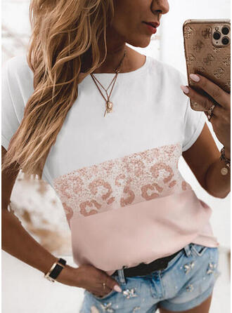 Color Block Leopard Print Round Neck Short Sleeves T-shirts
