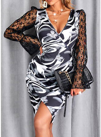 印刷 レース 長袖 パフスリーブ シースドレス 膝上 エレガント ドレス