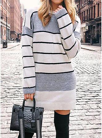 Rayado Punto De Cable Punto Grueso Cuello Redondo Vestido de Suéter