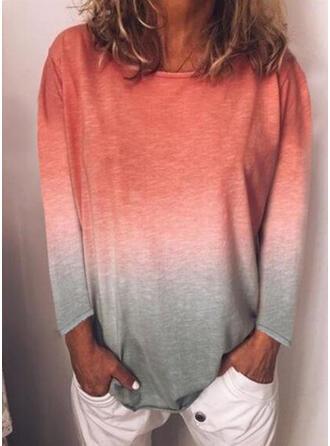 Tie Dye Cuello redondo Manga Larga Casual Camisetas