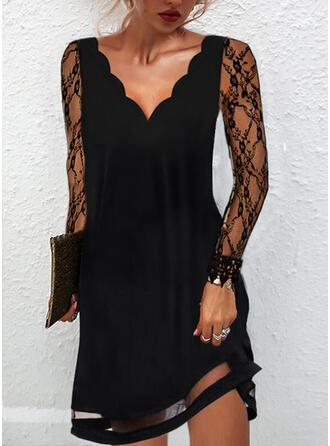 Pevný Krajka Dlouhé rukávy Šaty Shift Nad kolena Malé černé/Elegantní Šaty