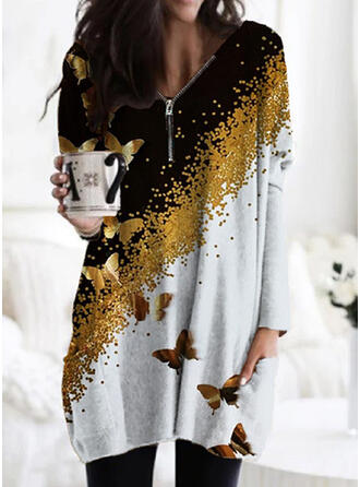 Print/Color Block/Animal Long Sleeves Shift Above Knee Casual Tunic Dresses
