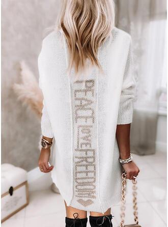 印刷 ハート 文字 Vネック カジュアル セーター