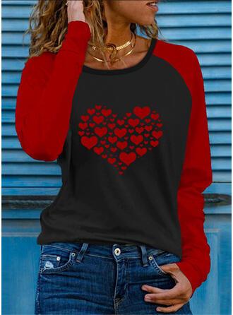 Color Block Srdce Tisk Kulatý Výstřih Dlouhé rukávy Trička