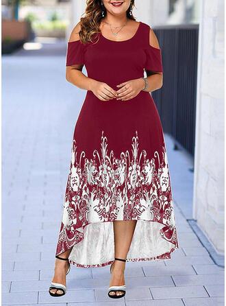 Impresión Top sin hombros Acampanado Asimétrico Casual/Elegante Vestidos
