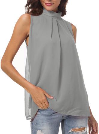 Sólido Cuello de Erguido Sin mangas Casual Elegante Camisetas sin mangas
