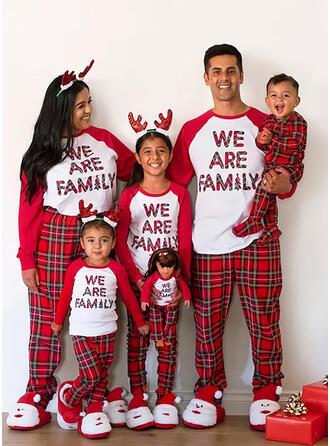 カラーブロック グリッド 文字 印刷 マッチングファミリー クリスマスパジャマ