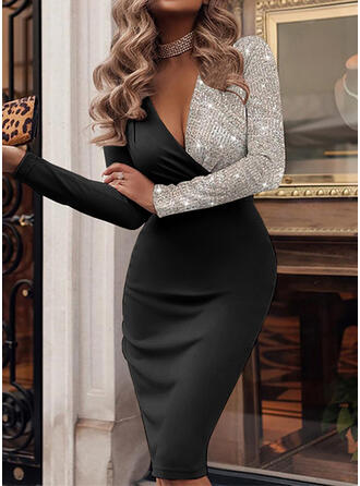 Color Block Sequins Long Sleeves Bodycon Knee Length Party/Elegant Pencil Dresses