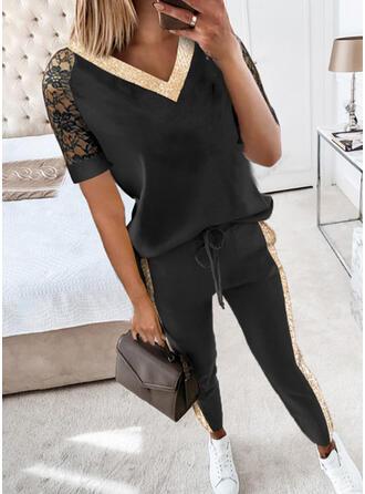Color Block Fritids Extra stor storlek blus & Tvådelade kläder uppsättning
