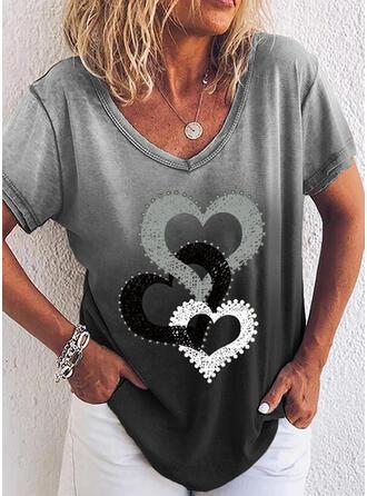 Lutning Hjärta Print V-ringning Korta ärmar T-tröjor