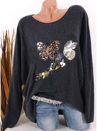 Animale Stampa leopardo Girocollo Maniche lunghe Magliette