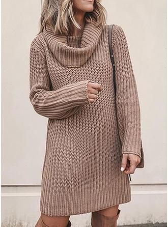 Sólido Acanalado Punto Grueso Cuello de Capucha Vestido de Suéter