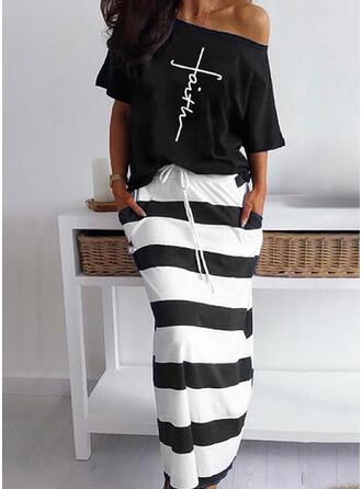 文字 縞模様の 印刷 カジュアル プラスサイズ tee & ツーピースの服 Set ()