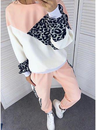 Leopard Color Block Sporty Casual Plus størrelse sweatshirts & 2-delt tøj sæt