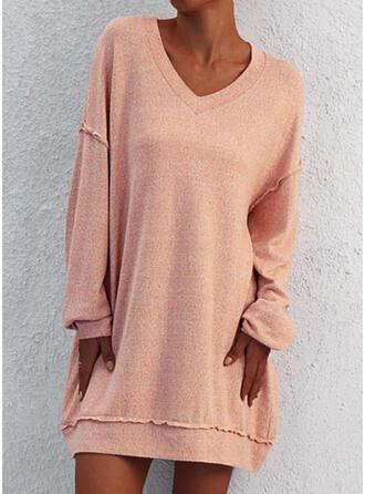 Solid Long Sleeves Shift Above Knee Casual Sweatshirt Dresses