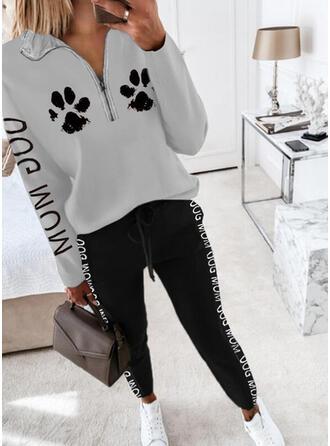 Bogstav Animal Print Casual Plus størrelse sweatshirts & 2-delt tøj sæt