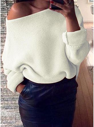 Sólido Un hombro Suéteres