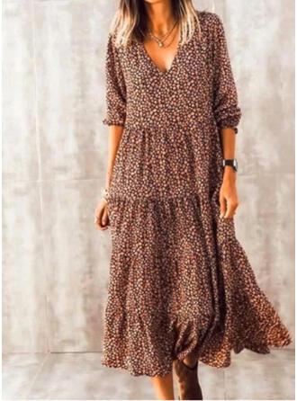 Nadrukowana/Kwiatowy Długie rękawy Koktajlowa Casual Midi Sukienki
