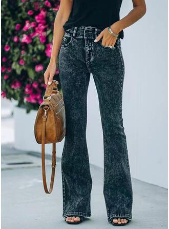 Solid Lang Casual Denim & Jeans