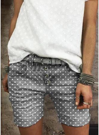 水玉模様 膝上 カジュアル ビンテージ プラスサイズ pocket ボタン パンツ ショートパンツ