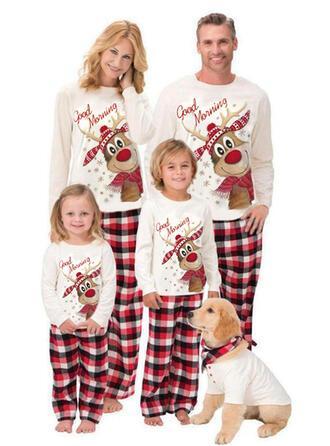 Reno Tela Escocesa Carta Impresión Familia a juego Pijamas De Navidad