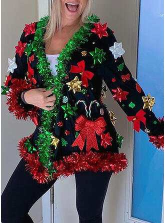 クリスマス 印刷 Vネック カジュアル セーター