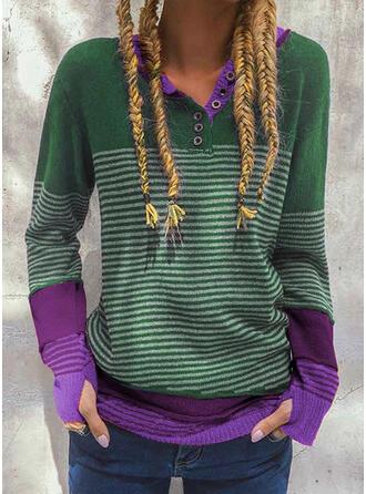Blok Kolorów Prążek Dekolt w kształcie litery V Casual Swetry