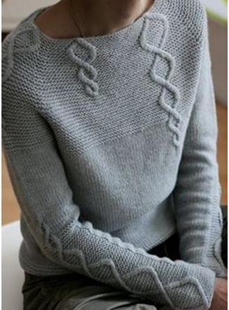 Sólido Punto De Cable Punto Grueso Cuello Redondo Suéteres