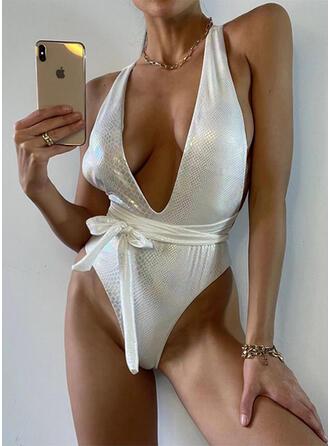 Color Sólido Cuello en V Sexy Una pieza Trajes de baño