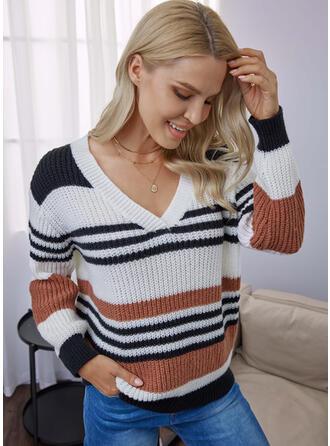 カラーブロック 縞模様の Vネック カジュアル セーター