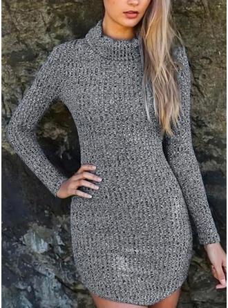 Sólido Cuello De Tortuga Casuales Largo Vestido de Suéter