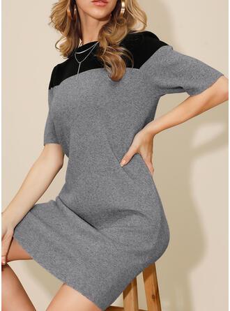 Bloque de color Mangas 1/2 Cubierta Sobre la Rodilla Casual Vestidos