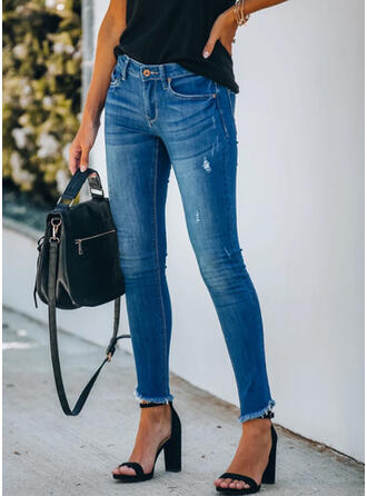 Sólido Largo Casual Tallas Grande Borla Bolsillo shirred Botones Pantalones Vaqueros