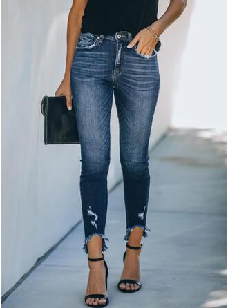 Shirred Extra stor storlek Elegant Mager Denim & Jeans