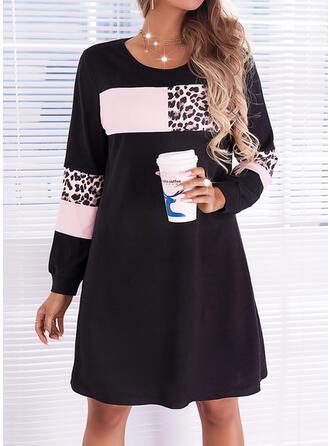 印刷/カラーブロック/ヒョウ 長袖 シフトドレス 膝上 カジュアル ドレス