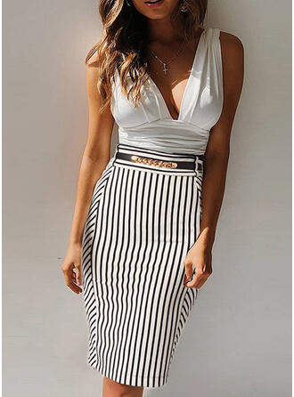 Print/Striped/Patchwork Sleeveless Bodycon Knee Length Sexy/Casual/Party Dresses