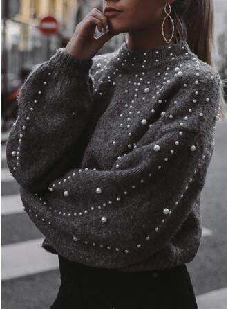 Jednolity Wysadzana perełkami Wycięcie pod szyją Casual Swetry