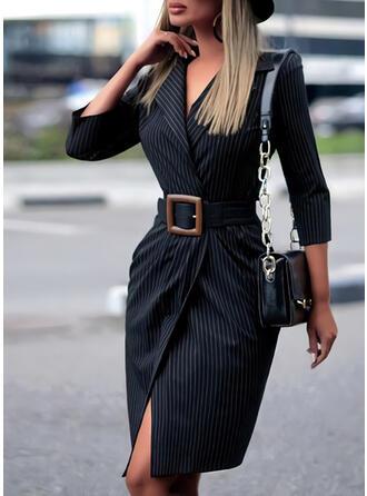 Striped 3/4 Sleeves Sheath Knee Length Casual/Elegant Dresses