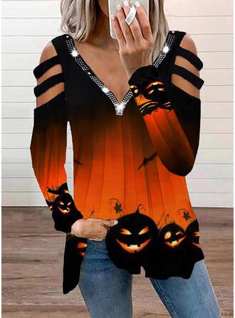 halloween Impresión Top Con Hombros Manga Larga Camisetas