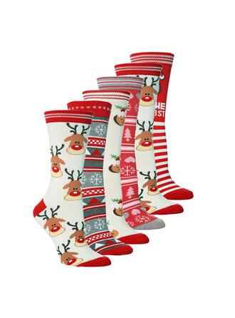 Reno de la navidad Cómodo/Navidad/Calcetines de la tripulación/Unisexo Calcetines
