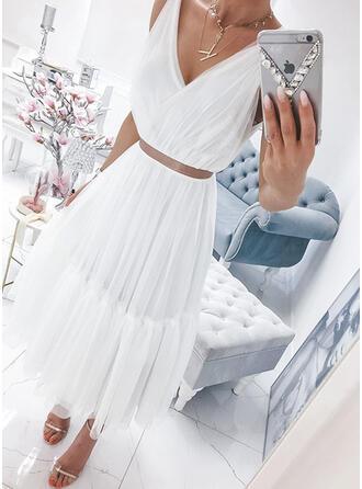 Jednolita Bez rękawów W kształcie litery A Łyżwiaż Casual Maxi Sukienki