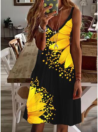 Impresión/Floral Sin mangas Vestidos sueltos Hasta la Rodilla Casual Camisón Vestidos