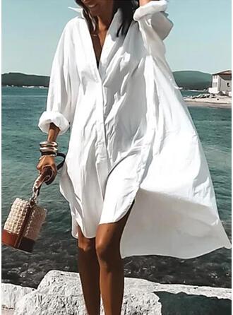 Jednolita Długie rękawy Koktajlowa Asymetryczna Casual/Wakacyjna Koszula Sukienki