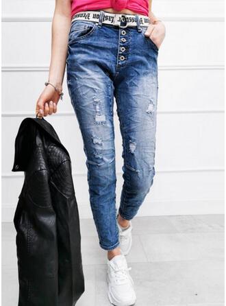 Sólido Jean Grandes Casual Tamanho positivo shirred rasgado Button Jeans