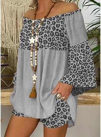Leopard Casual Plus størrelse bluse & 2-delt tøj sæt