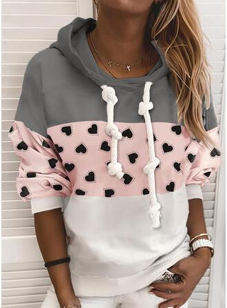 Print Color Block Hoodie Long Sleeves Casual Blouses