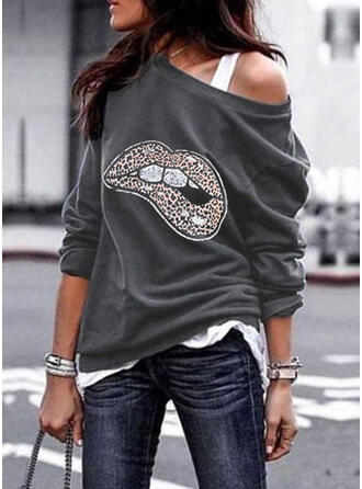 Print luipaard One Shoulder Lange Mouwen Sweatshirts