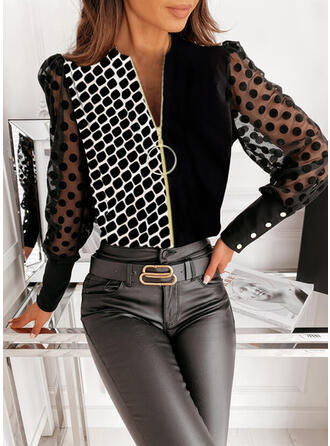 Print Color Block PolkaDot V-Neck Puff Sleeves Long Sleeves Button Up Elegant Shirt Blouses